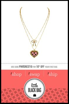 Betsey Johnson Polka Dot Heart Necklace from LittleBlackBag.com  ::Pink/Black:: Necklace:: Heart::Bow