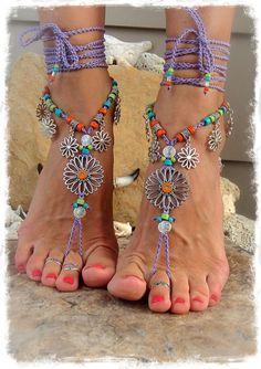 SUNFLOWER Barefoot Sandals Hippie FESTIVAL sandal Flower por GPyoga