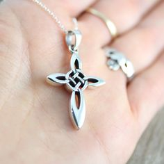 Silver Celtic Cross Necklace Irish Celtic Cross by LifeOfSilver