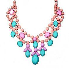 Pastel Candy Stone Cluster Bib Statement Necklace  @Statementbaubles  @sensiblestylista