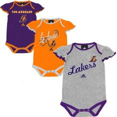 NBA adidas Los Angeles Lakers Girls Infant Slam Dunk 3-Piece Creeper Set – Purple/Ash/Gold (12 Months)