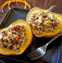 Sweet-Savory Stuffed Acorn Squash. For the recipe: http://www.bergencounty.com/food-and-dining/how-to-buy-meat-and-seafood-1.1081314