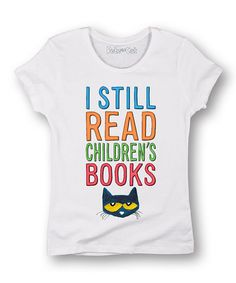 a122c7184bada This White Pete the Cat  I Still Read  Tee - Women by Pete the