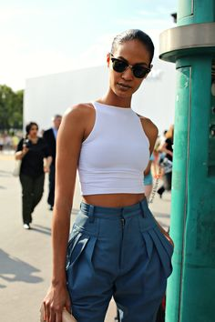 High waisted pants and crop top