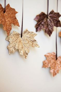 Fall leaves, melt candlewax into a pan and drop the leaves in. When both sides are covered, dip them in glitter and then hang them up by ribbons to dry.