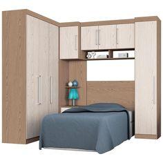 Dormitório Modulado Solteiro 6 Peças Demóbile Comp. 12 - Guarda-roupas…