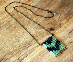 Bohemian Style Chevron Beaded Necklace with Celadon Green Red and Speckled Black and Gray Czech Glass Beads