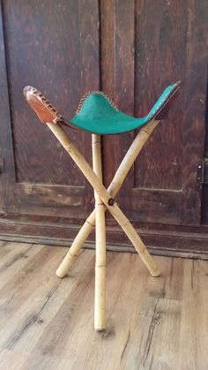 3 Legged Stool Mexico Leather Saddle Chair Green Bamboo Aztec Embossed Vintage 1950's
