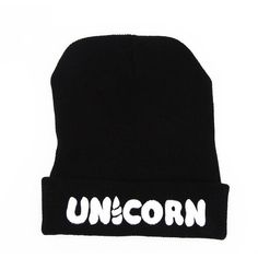 UNICORN Beanie Hat found on Polyvore featuring accessories, hats, unicorn hat, beanie hat, beanie cap, unicorn beanie hat and beanie cap hat