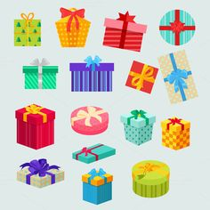 Set of Gifts Boxes Design Flat Graphics Set of gifts boxes design flat. Gift box present, ribbon and gift box vector, gift box isolated, gif by robuart Christmas Balls, Christmas Holidays, Christmas Decorations, Clipart, Gift Box Design, Cartoon Toys, Object Drawing, Xmas Crafts, Christmas Inspiration