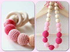 SET of Pink Nursing Natural necklace and by ZanesCrochetTreasure