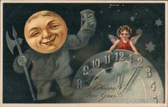 Divided Back Postcard A Happy New Year - A Clock, Moon and Angel Father Time Vintage Christmas Cards, Vintage Cards, Vintage Paper, Vintage Postcards, Christmas Art, Happy New Years Eve, Happy New Year Cards, New Year Greetings, New Year Clock