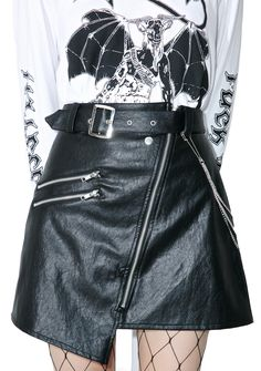 Disturbia Nowhere Skirt we're on a road to nowhere babe, let's take that ride….This sikk af biker skirt features a vegan leather construction, asymmetrical hem, slash zipper and buckle details, A-line fit, detachable triple belt chains and zip-front closure.