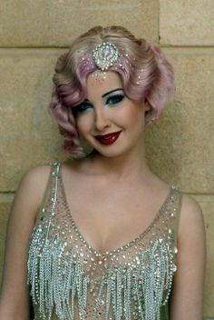 Show girl, meets 1920's flapper gal. Tons of glitz and glam. #Blonde #hair #pink