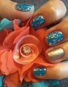 """Beautiful yet affordable nails...who doesn't want that?!? """"Silver Floral on Clear layered over Paradise Blue with Diamond Dust Sparkle"""" accent nail. To get this amazing look visit... chicmedic.jamberrynails.net"""