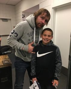 Dean backstage with Goldberg's son Gage in Connecticut (candid by wandagoldberg on Instagram)