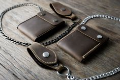 This wallet is the first release of our new chain wallet collection.  This wallet is a variation of our best selling Mens Leather Wallet featured here: https://www.etsy.com/listing/160951740/  Weve added a closure flap and a 24 chain to give it that rugged, blue collar feel.  Pick either a Silver chain or an Antique Gold chain. The above pictures are the antique gold accessories. Here is a similar wallet but with silver accessories,  https://www.etsy.com&#x...