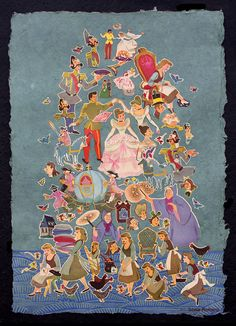 Vintage Cinderella Linocut and Collage by Sonia Romero, 2012