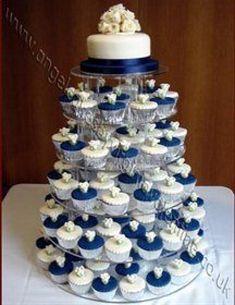 Wedding cupcakes perfect just needs a little red and a little yellow. Blue Wedding Cupcakes, Fall Wedding Cakes, Beautiful Wedding Cakes, Wedding Cake Toppers, Our Wedding, Cupcake Wedding, Wedding Ideas, Starry Night Wedding, Winter Wonderland Wedding