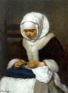 Терборх, Герард Женщина за шитьем рядом с колыбелью (деталь) Маурицхёйс