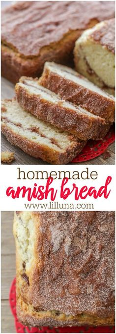 bread recipes Homemade Amish Bread - seriously one of the easiest bread recipes youll ever try! Super soft and fluffy bread covered in an irresistible cinnamon sugar mixture! The secret to the fluffiness is the buttermilk in the dough! Cinnamon Amish Bread, Amish Bread Recipes, Bread Machine Recipes, Cinnamon Rolls, Amish Sweet Bread Recipe, Cinnamon Sugar Muffins, Breakfast Bread Recipes, Cinnamon Recipes, Dutch Recipes
