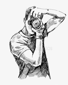 Illustration of Photographer vector art, clipart and stock vectors. Camera Sketches, Camera Drawing, Camera Art, Boy Drawing, Drawing Sketches, Painting & Drawing, Camera Painting, Film Camera, Abstract Pencil Drawings
