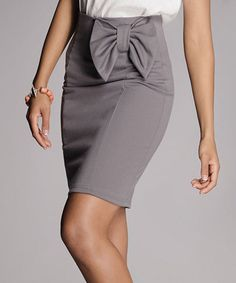 Another great find on #zulily! Gray Bow Pencil Skirt - Women & Plus by FIGL #zulilyfinds
