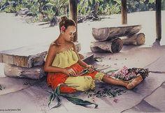 Painting, Watercolor, Murray E. Breen 'Lei Making' -making Leis using Plumeria flowers, and Tea Leaves. Arches Watercolor Paper, Plumeria Flowers, Leis, Fine Art, Oahu, Art Paintings, Hawaii, Prints, How To Make
