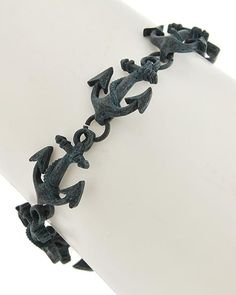 Patina Metal / Lead&nickel Compliant / Anchor / Magnetic Closure Bracelet