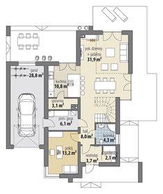 Arystoteles - Rzut parteru Modern Bungalow House, Modern House Design, Villa Plan, Facade House, My House, Building A House, House Plans, New Homes, Floor Plans