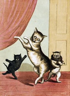 After our posts on David Bowie and Alan Rickman we thought a happy Feline Friday post was in order. So here, for your enjoyment, are dancing kittens. From: My Mother (1857)