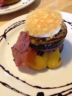 Grilled Vegetable Napoleon with Garlic Aioli, Crispy Salami and Parmesan Crisp
