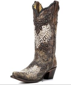 Women's Black-Antique Saddle Studs & Whip Stitch Boot - R1222 on www.countryoutfitter.com