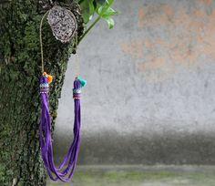 Boho purple fabric necklace orange and by NataliesWunderland, $20.00