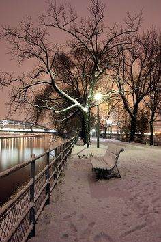 Snowy night in Paris