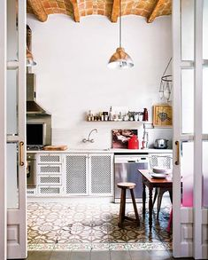 floor tile is gorgeous and the ceiling's not bad either! moroccan-inspired kitchen floor tiles / sfgirlbybay