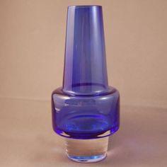 Vintage Midcentury 1960s Blue Glass Vase Sea Glasbruk Scandinavian Samuelsson #SeaGlasbruk