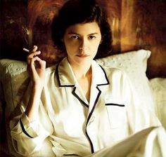 In 1918 Coco Chanel introduced lounging pyjamas for women to create a boyish look. Followed up by wide-leg beach pyjamas in 1922. (Audrey Tautou in 'Coco Before Chanel', 2009).