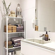 IKEA Bathroom Shelf: selection of the best storage solutions available for sale right now Ikea Bathroom Shelves, Ikea Hack Bathroom, Ikea Shelves, Diy Bathroom Decor, Bathroom Styling, Bathroom Interior Design, Master Bathroom, Bathroom Ideas, Country Style Bathrooms