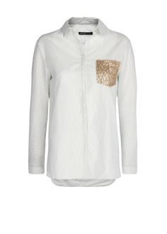 Camisa rayas bolsillo lentejuelas primavera verano 2013 2014