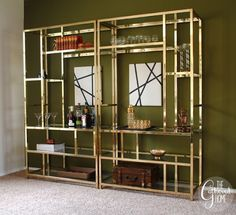 The Gathered Home: Found: Pair of Vintage Brass And Glass Étagères...love the mirrors tucked in there!