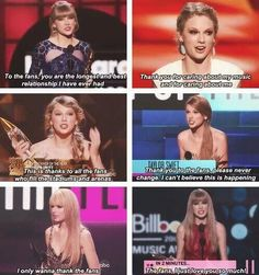 "<3 Taylor loves her fans! <3 Proud to be a Swiftie, Taylor! <--- ""I only wanna thank the fans."" AWWW"