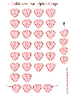 FREE printable love heart alphabet letter tags | #Valentine