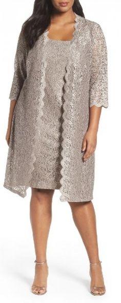 Plus Size Women's Alex Evenings Lace Jacket Dress, Size 14W - Grey