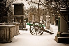 Headstones at Cannon at Arlington National Cemetery following Spring Snow