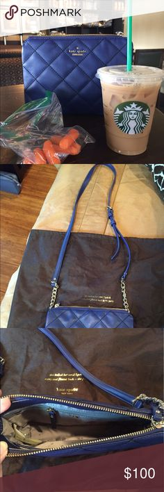 Kate Spade Emerson place! Beautiful quilted, soft leather. Worn a few times but in flawless condition! Navy color with gold Kate Spade label.   Crossbody or can hang cute on the shoulder! Adjustable straps! Comes in dust bag! kate spade Bags Crossbody Bags