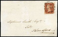 """GB 1841 SG8o Pl.21 Cover 1841 1d Red brown Pl.21. Very fine part wrapper sent from Dorchester to Blandford bearing a good to huge four margin example lettered EA, neatly tied by a crisp Dorchester """"Wessex"""" type cds for FE.21.1842. Backstamped by a Blandford arrival cds for the same day. A wonderful example of this very rare cancellation used on cover. Spec. BS10va."""