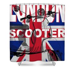 London Scooter Rally Poster Shower Curtain by Edward Fielding