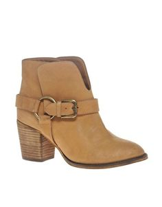 ASOS ANGELES Mid Heel Leather Buckle Ankle Boot