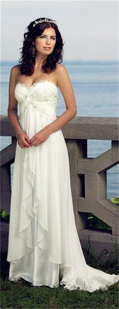 beach wedding dress♥ Stunning, classic jewelry: www.bluedivadesigns.wordpress.com #bluedivagal